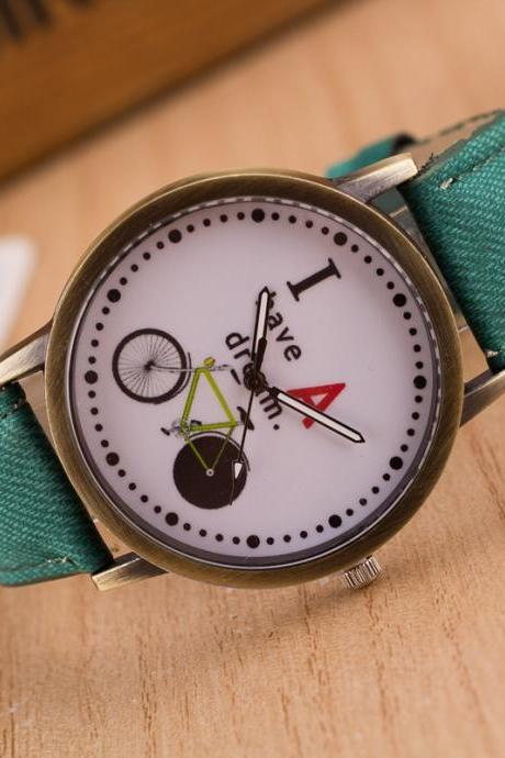 Bike Denim Print Retro Watch