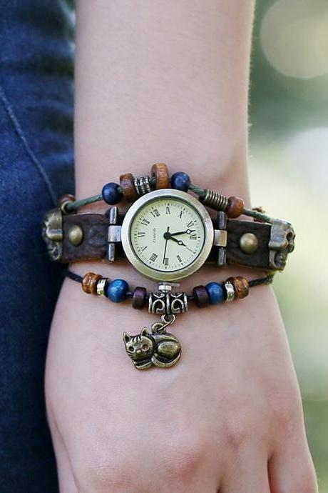 Punk Beaded Skull Cat Watch