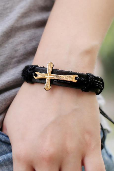 Scripture Cross Leather Bracelet