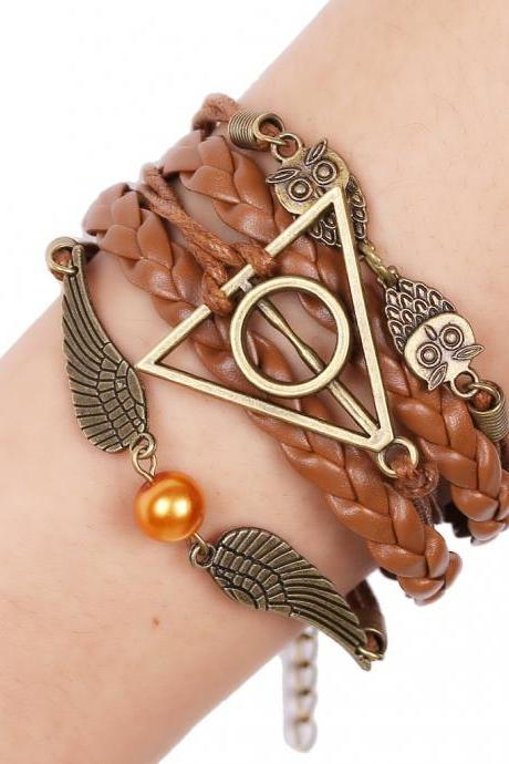 Delicate Angel Wings Hand Woven Leather Cord Bracelet