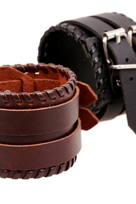 Personality Wide Strap Leather Bracelet