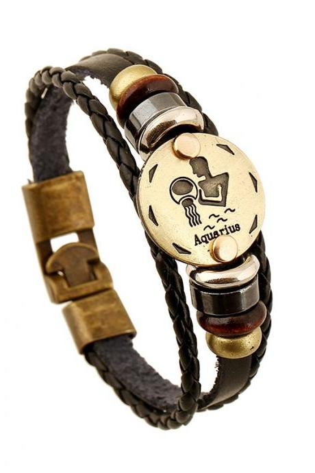 Aquarius Constellation Leather Bracelet