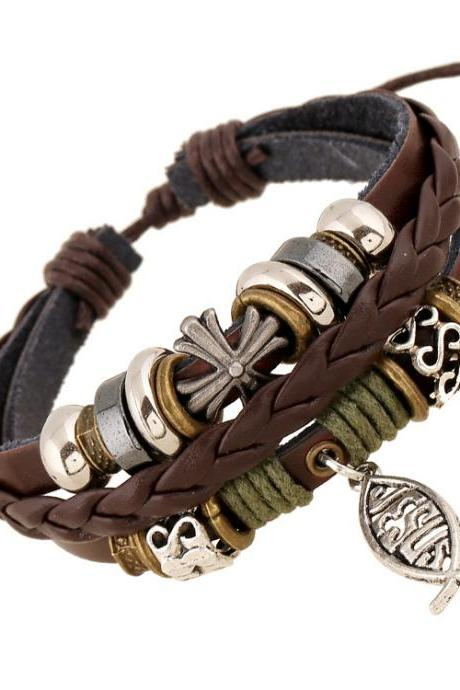 Fashion Jesus Fish Cross Bracelet