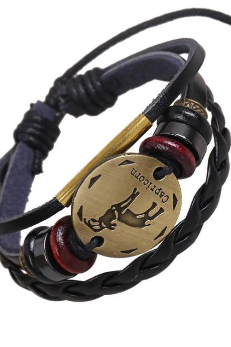 Capricornus Constellation Woven Leather Bracelet