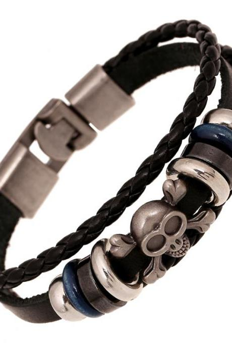 Retro Skull Woven Leather Bracelet