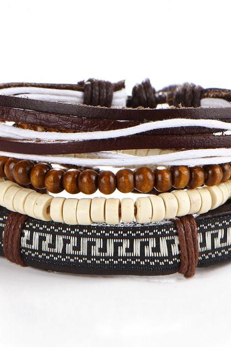 Embroidery Beaded Wooden Ball Leather Bracelet