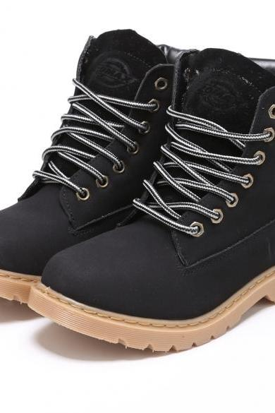 New Women Synthetic Leather Boot Lace Up Outdoor Ankle Boot Shoes