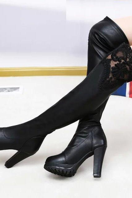 Lace Patchwork Elastic Over Knee Chunky Heel Boots