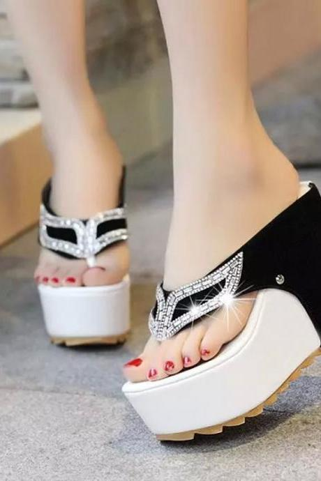 High Platform Crystal Mask Thong Sandals