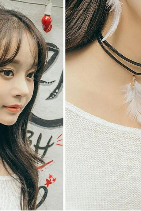 Natural feather Tassel Earrings Necklace Ring Bohemia Korea wind beautiful metal
