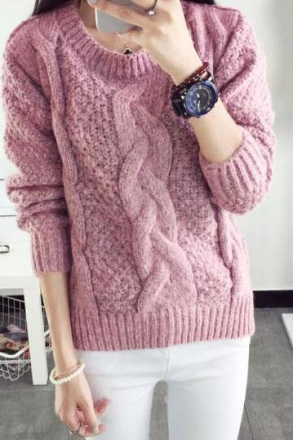 Pull over Loose Pure Color Long Sleeve Sweater