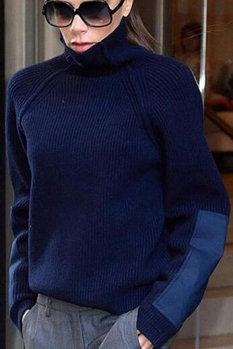 High-Neck Cashmere Knitting Arm Patch Sweater