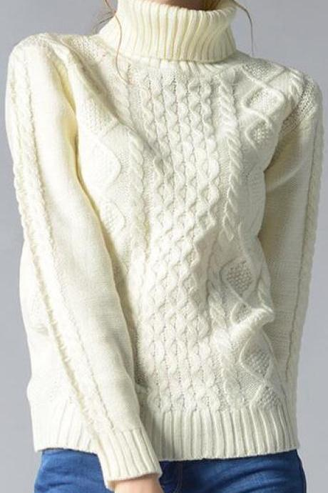 Casual High-Neck Braid Knitting Slim Sweater