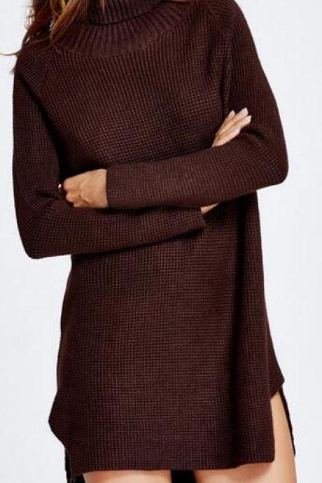Knitted Turtleneck Sweater Dress Featuring High Low Hem