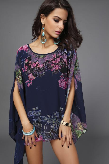 Beautiful Chiffon Plus Size Floral Print Batwing-Sleeved Blouse