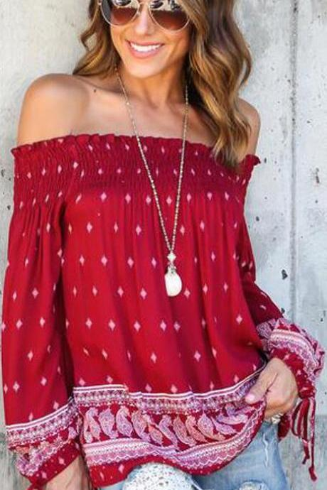 Off Shoulder Elastic Long Sleeve Lace Up Print Red Blouse