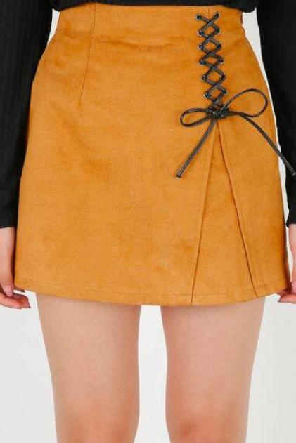 Pure Color Lace Up High Waist Mini Skirt