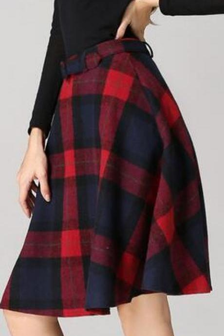 Retro Plaid Pattern High Waist Woolen A-Line Skirt