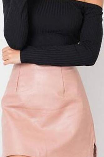 Pure Color PU Back Pockets Short Slim Skirt