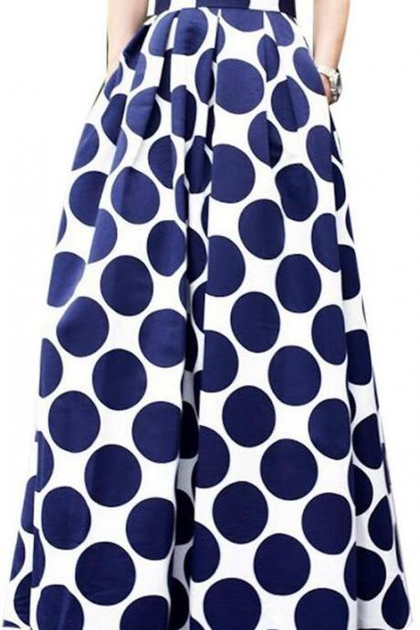 Polka Dot Print High Waist Pockets Long Skirt
