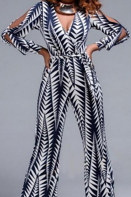 Print Long Split Sleeve V-neck Wide Leg Long Jumpsuit