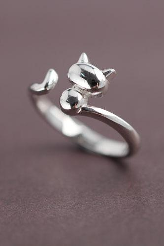 Cute cat open mouth fashionable joker ring
