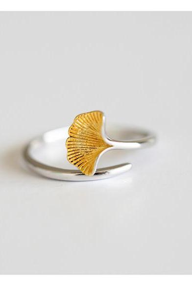 Open the gold and silver color ginkgo biloba tail ring