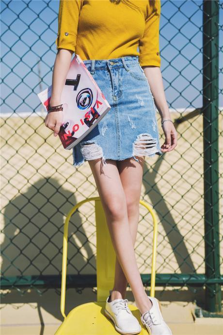 2017 Summer New Fashion Joker Hole Burrs Denim Skirts