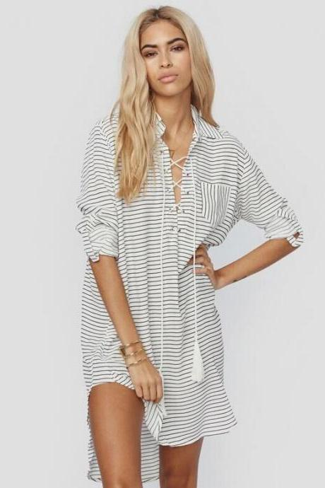 Hemp Material Beach Long Sleeves Cover Up Dress
