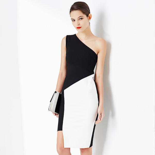Sexy Inclined Shoulder Asymmetry Sleeveless Bodycon Dress