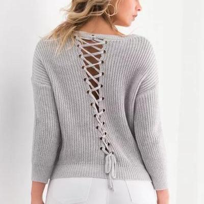 Pure Color Long Sleeves Straps V-neck Regular Sweater