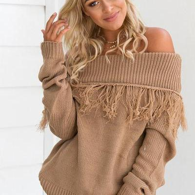 Off Shoulder Pure Color Long Sleeves Tassels Sweater