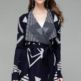 Patchwork Long Sleeves V-neck Geometry Cardigan