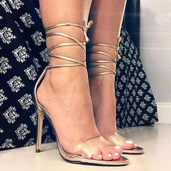 Transparent Peep-toe Ankle Wraps Lace Up Stiletto Heels Sandals Party Shoes