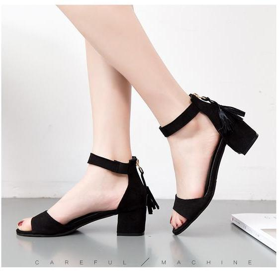 Tassels Back Zipper Open Toe Ankle Wrap Chunky Low Heel Sandals