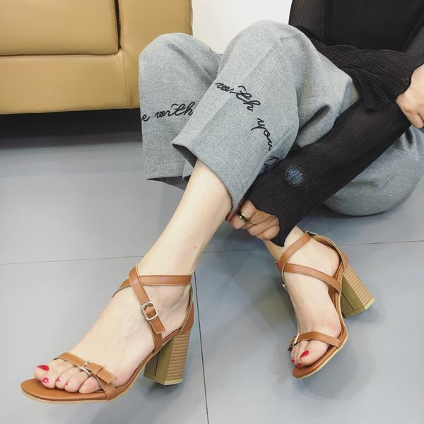 Square Open-Toe Crisscross Strap Chunky Heel, High Heels