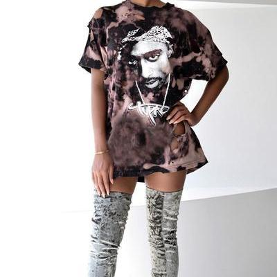 Short Sleeves Cut Out Scoop Print Loose Long T-shirt