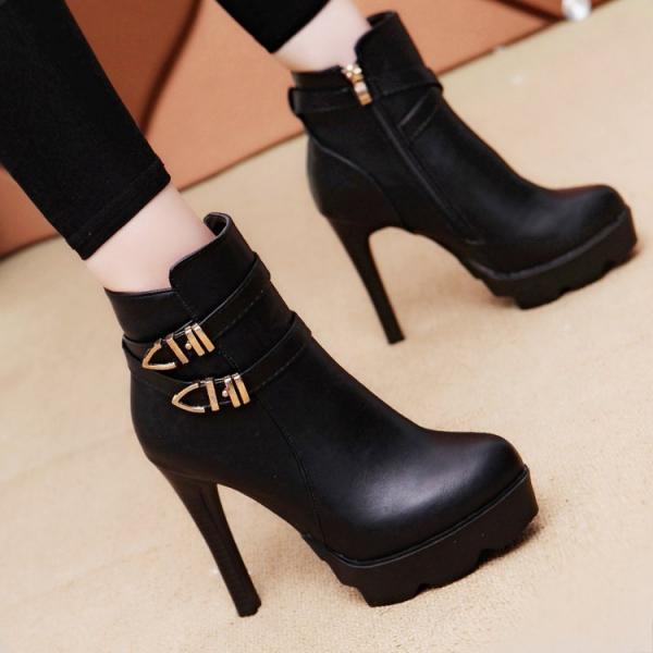 Side Zipper Round Toe Platform Stiletto High Heels Short Boots