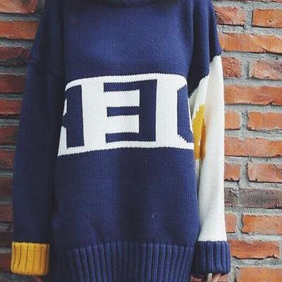 Letter Print Patchwork Loose Knitwear Sweater