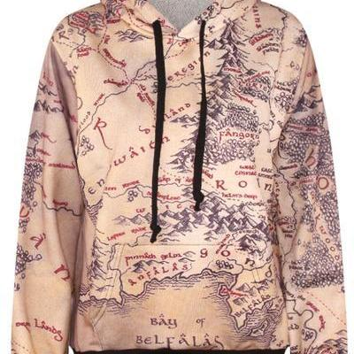 Retro Map Print Drawstring Regular Hoodie