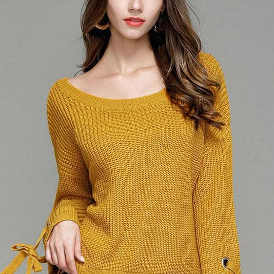 Pure Color Big Scoop Straps Long Trumpet Sleeves Loose Sweater