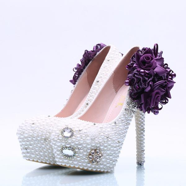 Big Flower Beadings Crystal Super High Stiletto Heels Bridal Shoes