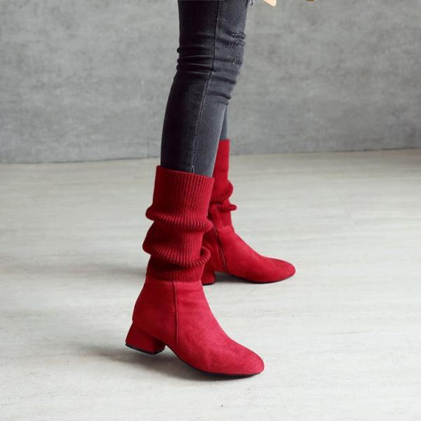 Patchwork Round Toe Low Chunky Heel Half Boots
