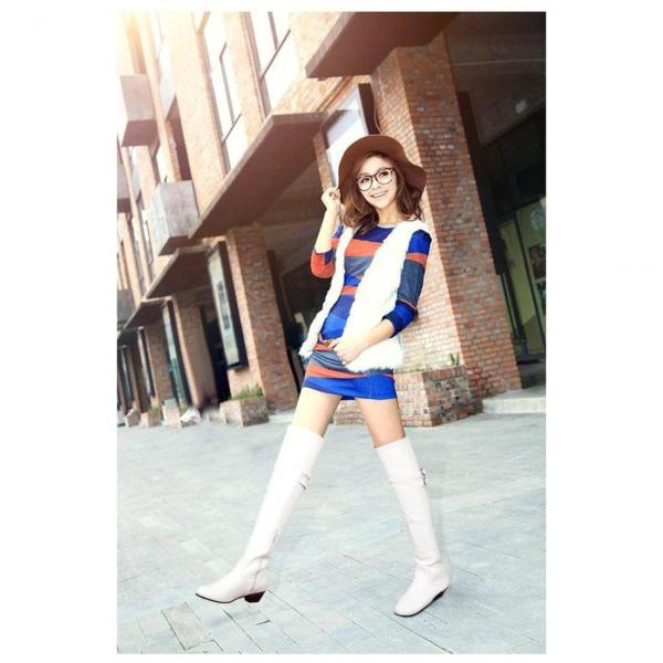 Pure Color PU Chunky Heel Round Toe Long Boots