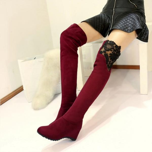 Suede Pure Color Slope Heel Round Toe Long Boots