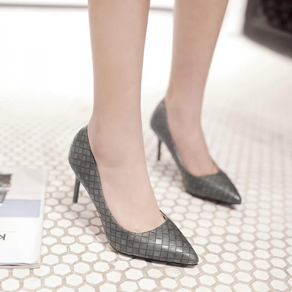 PU Stiletto Heel Pure Color Pionted Toe High Heels