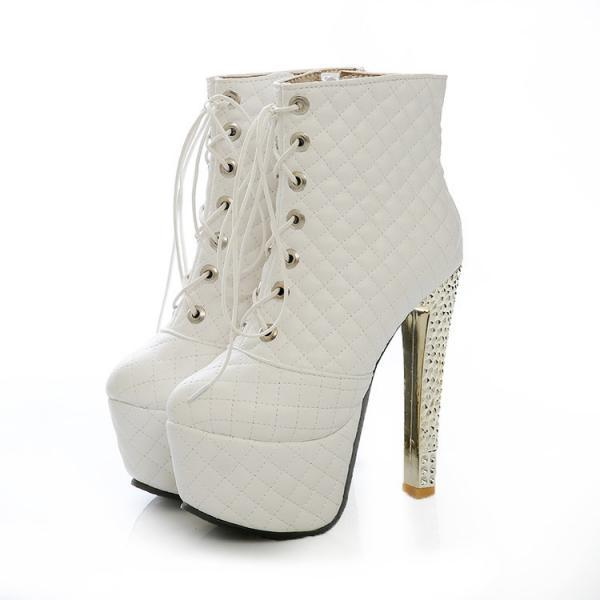 White/ Black / Metallic Diamond Quilted Lace Up High Heel Leather Ankle Boots