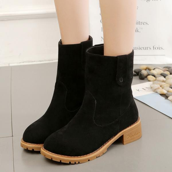 PU Chunky Heel Round Toe Pure Color Short Boots