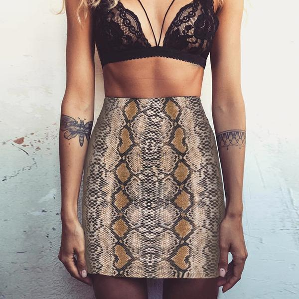 Sexy Snake Print Bodycon Mini Skirt