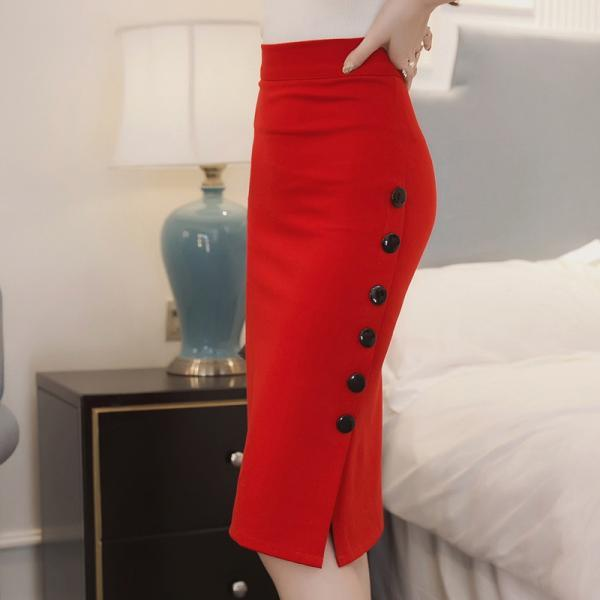 Elegant Plus Size High Waist Bodycon Pencil Long Split Skirt